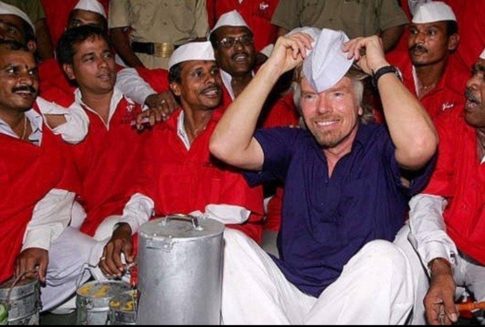Richard Branson with Mumbai Dabbawalas