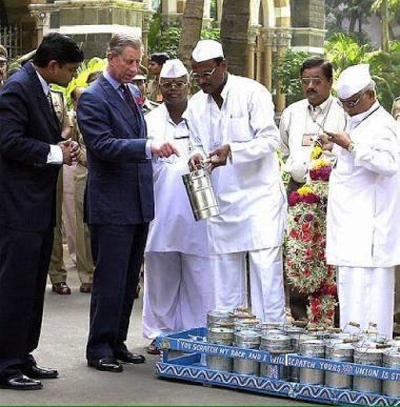 Prince Charles with Mumbai Dabbawalas