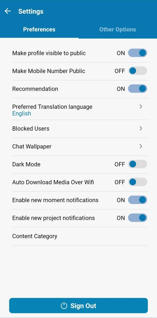 CitizenChat app settings